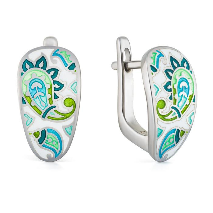"Silver earrings ""Persian carpet"". er1017 - Namfleg Enamel Jewelry"