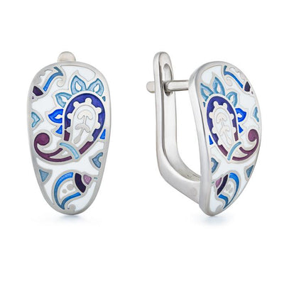 "Silver earrings ""Kashmir Shawl"". er1025 - Namfleg Enamel Jewelry"