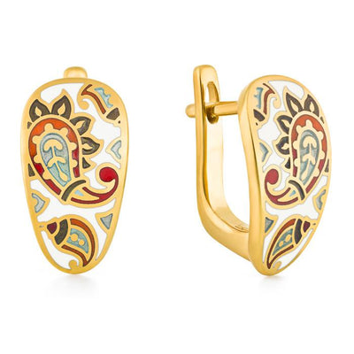 "Silver earrings ""Chinese Silk"" with 18K gold plating. er2029 - Namfleg Enamel Jewelry"