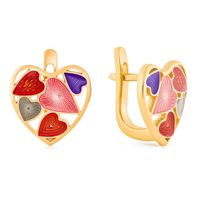 "Silver earrings ""Scarlet Heart"" with 18K gold plating. es2001 - Namfleg Enamel Jewelry"