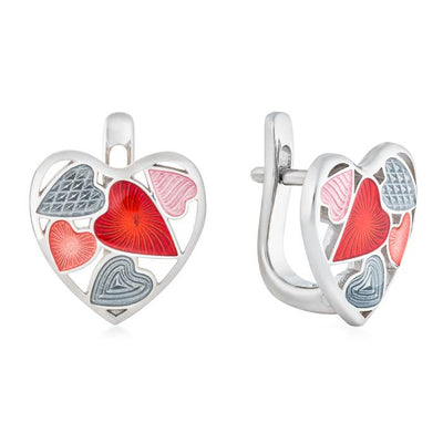 "Silver earrings ""Shadow Heart"" es1004 - Namfleg Enamel Jewelry"
