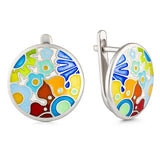 "Silver earrings ""Flaming Poppy"". eck1001 - Namfleg Enamel Jewelry"