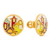 "Silver earrings ""Roman Holiday"" with 18K gold plating. edg2001 - Namfleg Enamel Jewelry"