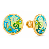 "Silver earrings ""Tuscany Vineyards"" with 18K gold plating. edg2006 - Namfleg Enamel Jewelry"