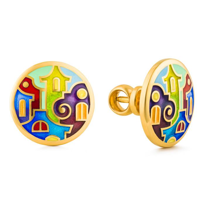 "Silver earrings ""Gulf of Naples"" with 18K gold plating. edg2003 - Namfleg Enamel Jewelry"