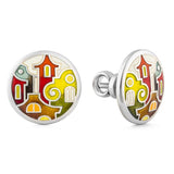 "Silver earrings ""Christmas in Venice"". edg1001 - Namfleg Enamel Jewelry"