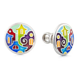 "Silver earrings ""Bay of Palermo"". edg1003 - Namfleg Enamel Jewelry"