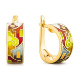 "Silver earrings ""Roman Holiday"" with 18K gold plating. ed2001 - Namfleg Enamel Jewelry"