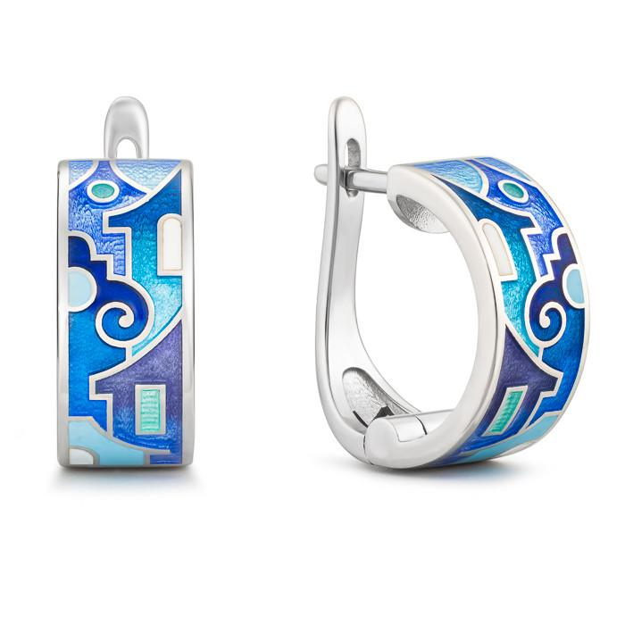 "Silver earrings ""Snowy Verona"". ed1008 - Namfleg Enamel Jewelry"