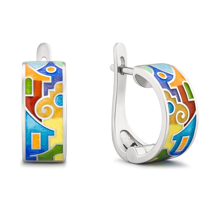 "Silver earrings ""Bay of Palermo"". ed1003 - Namfleg Enamel Jewelry"