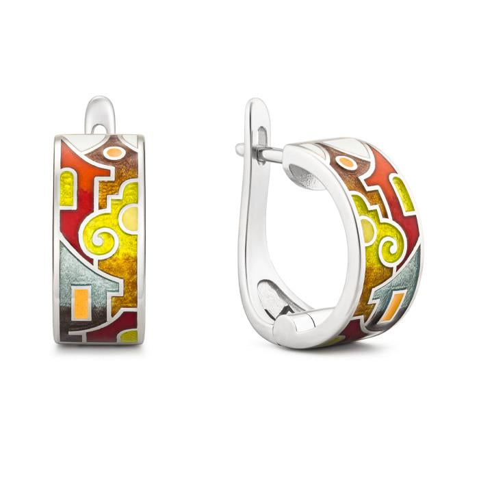 "Silver earrings ""Christmas in Venice"". ed1001 - Namfleg Enamel Jewelry"