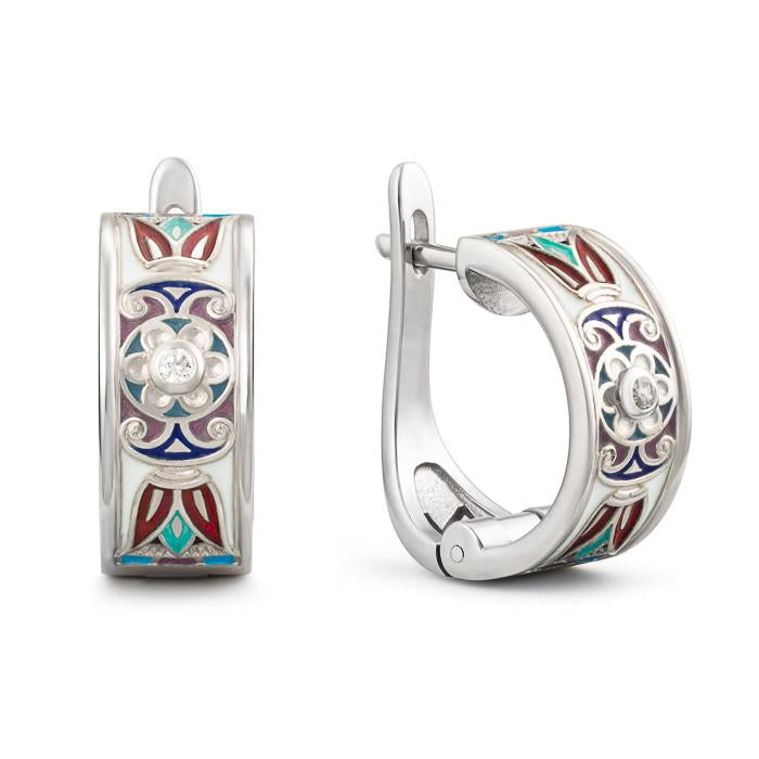 "Silver earrings ""Prana"". el1011 - Namfleg Enamel Jewelry"