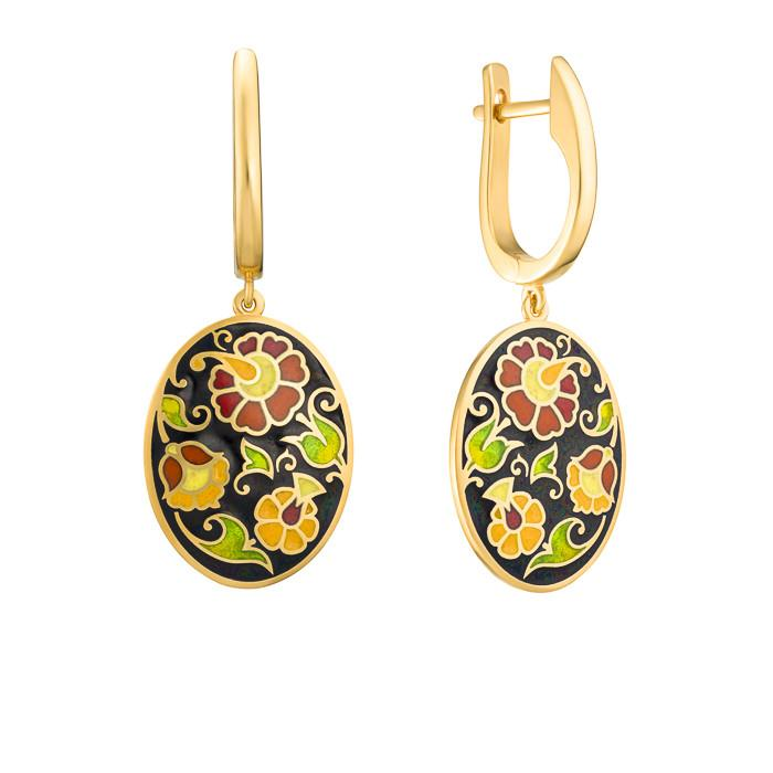 "Silver earrings ""Russian Princess"" with 18K gold plating. emv2003 - Namfleg Enamel Jewelry"