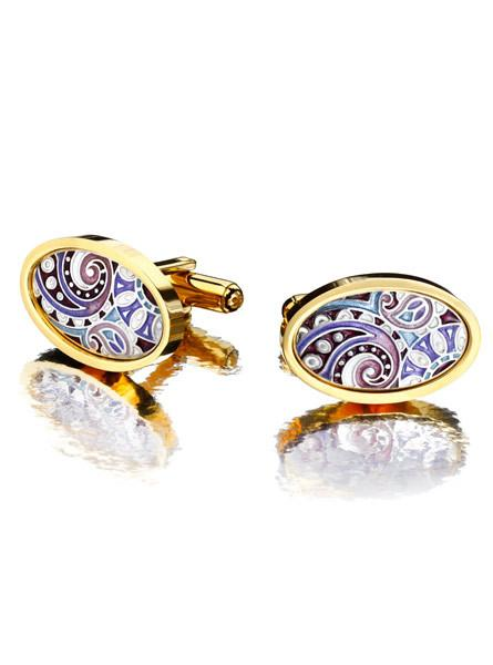 "Silver cufflinks ""Amethyst"" with 18K gold plating. zh2001o - Namfleg Enamel Jewelry"