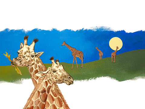 Quiet Giraffes Print by Sisal Creative