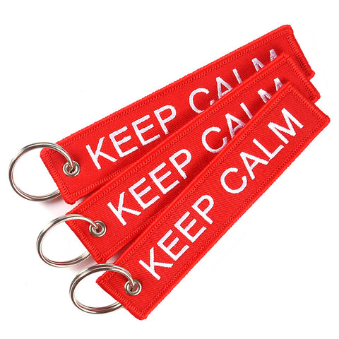 Doreen Box Keep Calm / Stay Cool Hiphop Rock Tags Keychain Keyring Key Ring Rectangle Polyester Double-sid Embroidery 1 Piece
