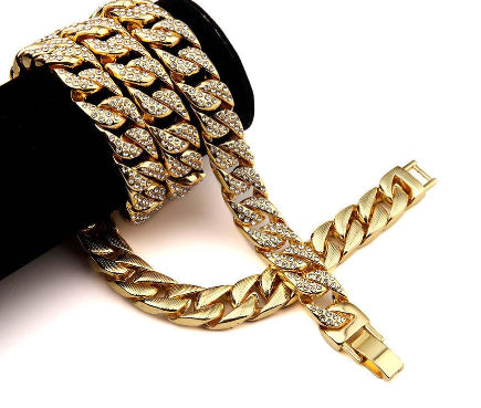 Fully Iced Out Men's Miami Cuban Link Chain Gold