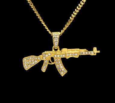 AK47 Gun Pendant Necklace Iced Out Rhinestone