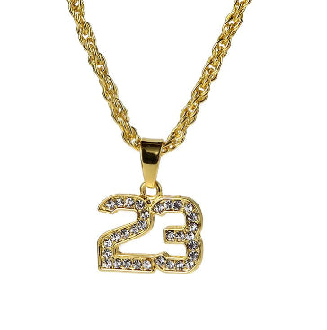 Basketball Legend Number 23 Pendant Bling with Cuban Chain