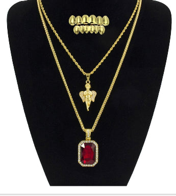 Angel Pendant And Iced Red big CZ Stone Pendants Necklace With Gold Teeth Grillz Suits