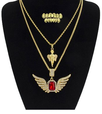 Angel Pendant And Flying Wings Pendants Necklace With Golden Grillz Set
