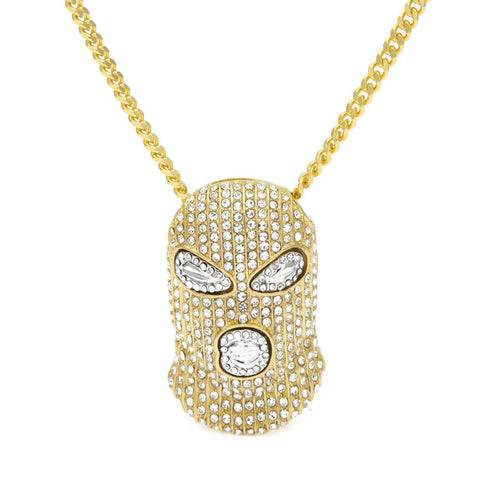 Crystal Masked Pendant Necklaces Gold Silver Plated With Cuban Chain