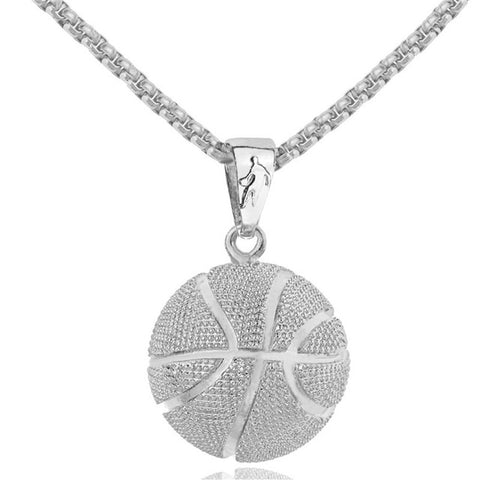 Basketball Pendant Necklace Gold Stainless Steel Chain