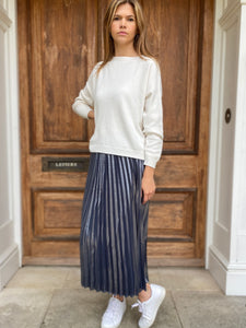 Adele Skirt Metallic Navy