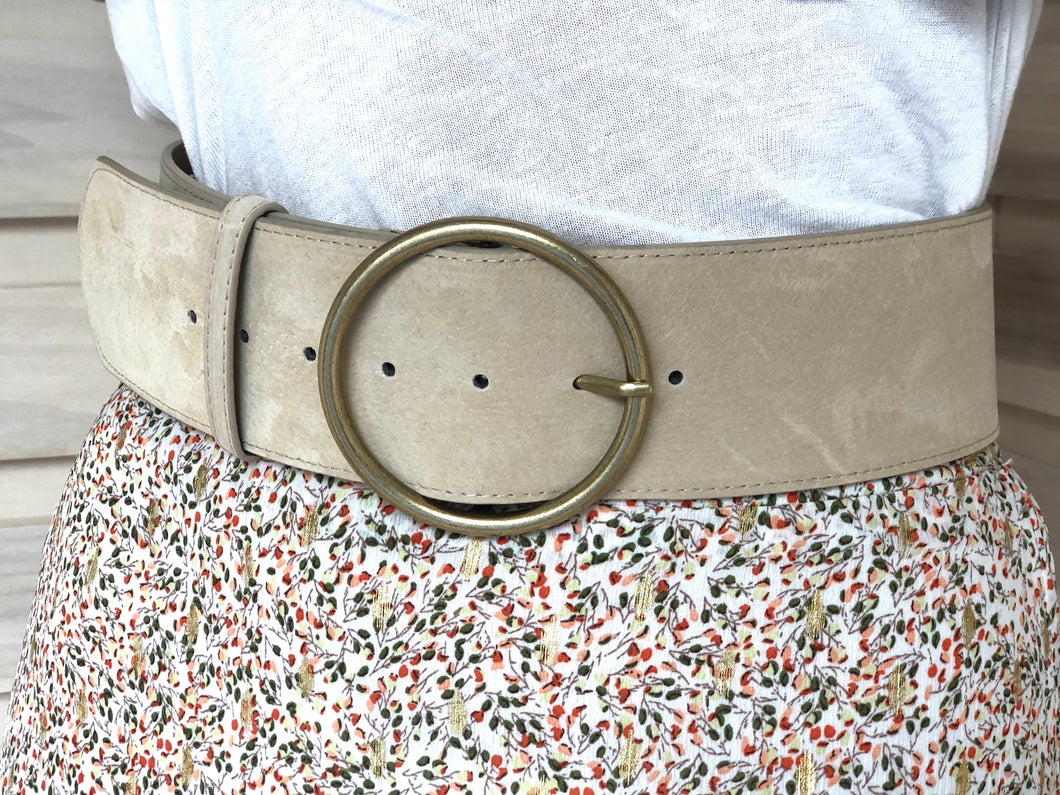 Suede Belt Pale Stone
