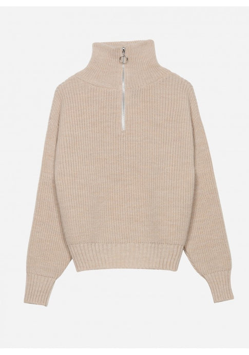 Thea Quarter Zip Jumper Oatmeal