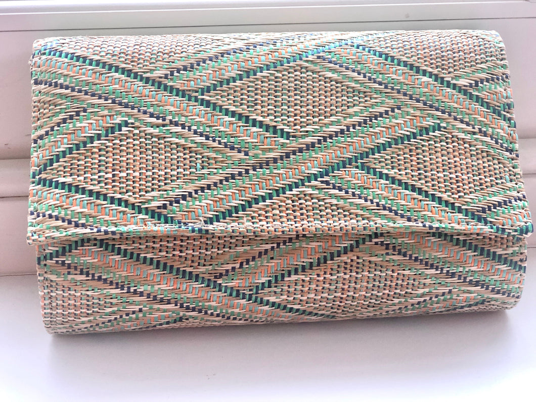 Woven Clutch Bag, Green Geometric