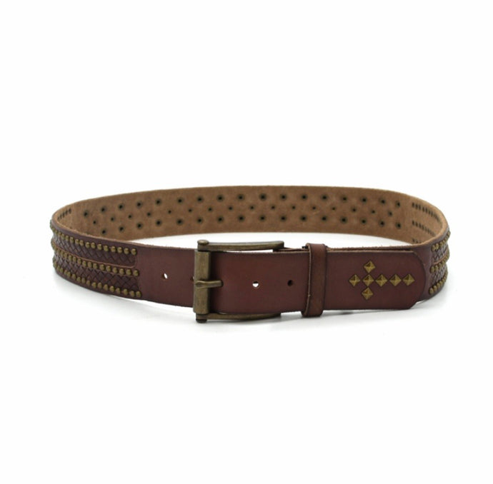 Brown Leather Studded Belt