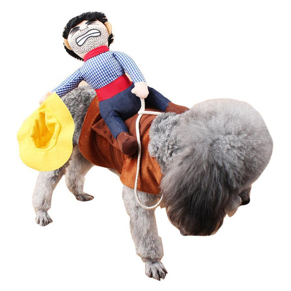 Funny Cowboy Riding Dog Costume