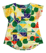 Unique Kids Clothing | Designed in Canada | Bib Tunic Dress | Multi-colour Tridot