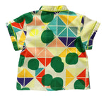Unique Kids Clothing | Designed in Canada | Classic Short Sleeve Button Top | Multi-colour Tridot