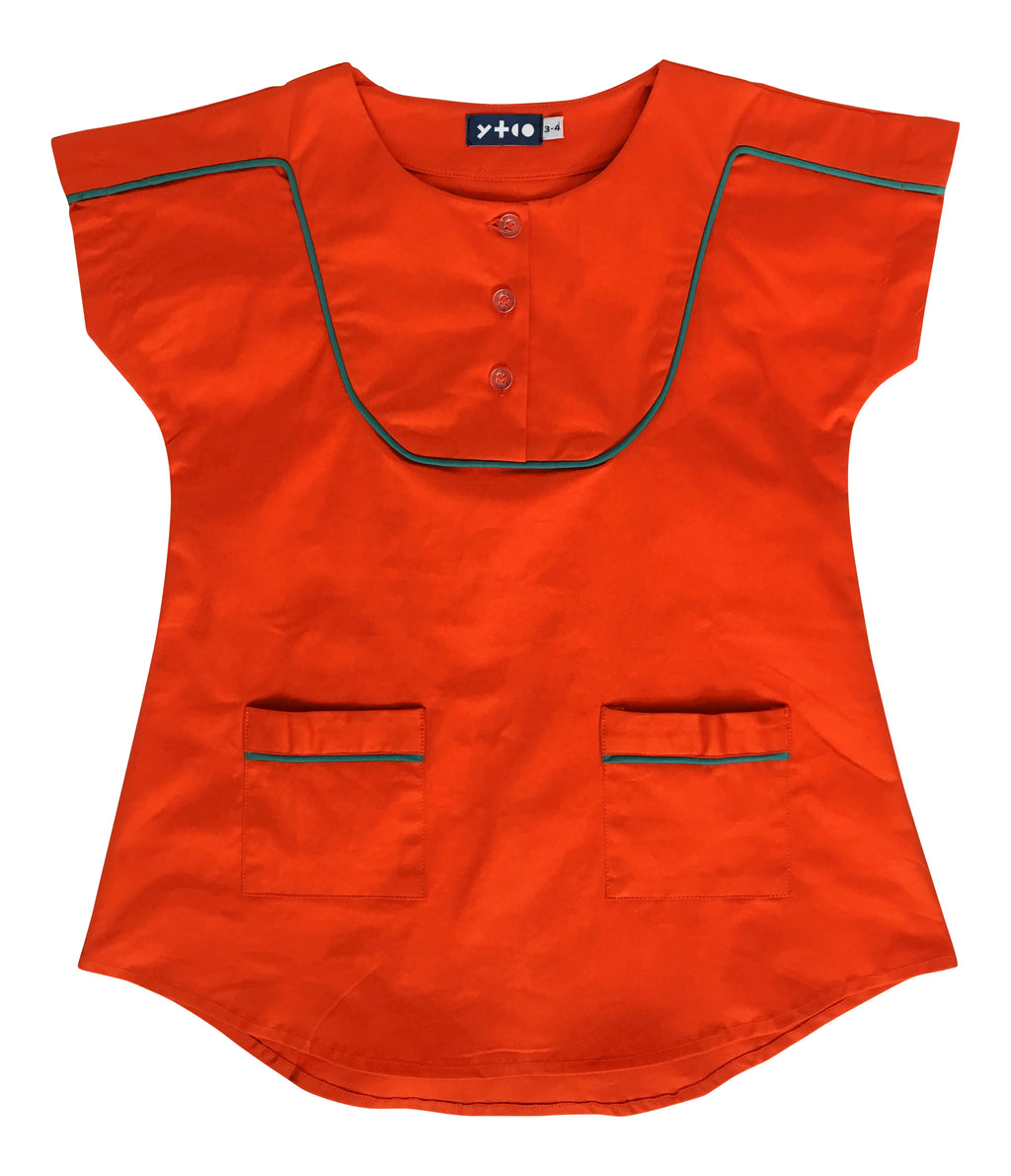 Unique Kids Clothing | Designed in Canada | Bib Tunic Dress | Ruckus Orange