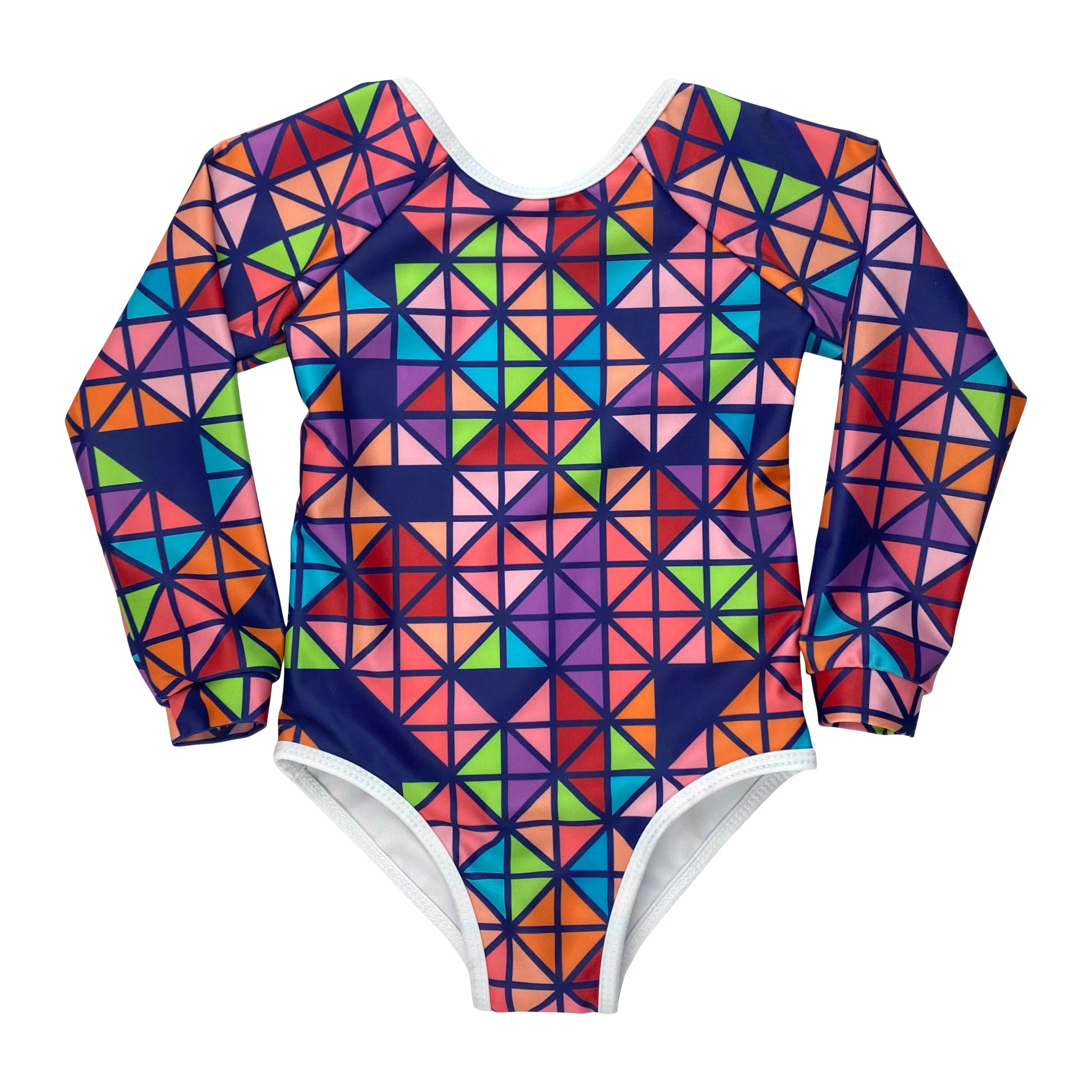 YTCO's no-fuss one-piece swimsuit with long sleeves for kids. This ready-for-any-adventure swimsuit is made from pre and post-consumer materials, ultra soft on the skin, and provides UPF 50+ sun protection. The Trisq print in Navy is a kaleidoscope of colour and geometry.