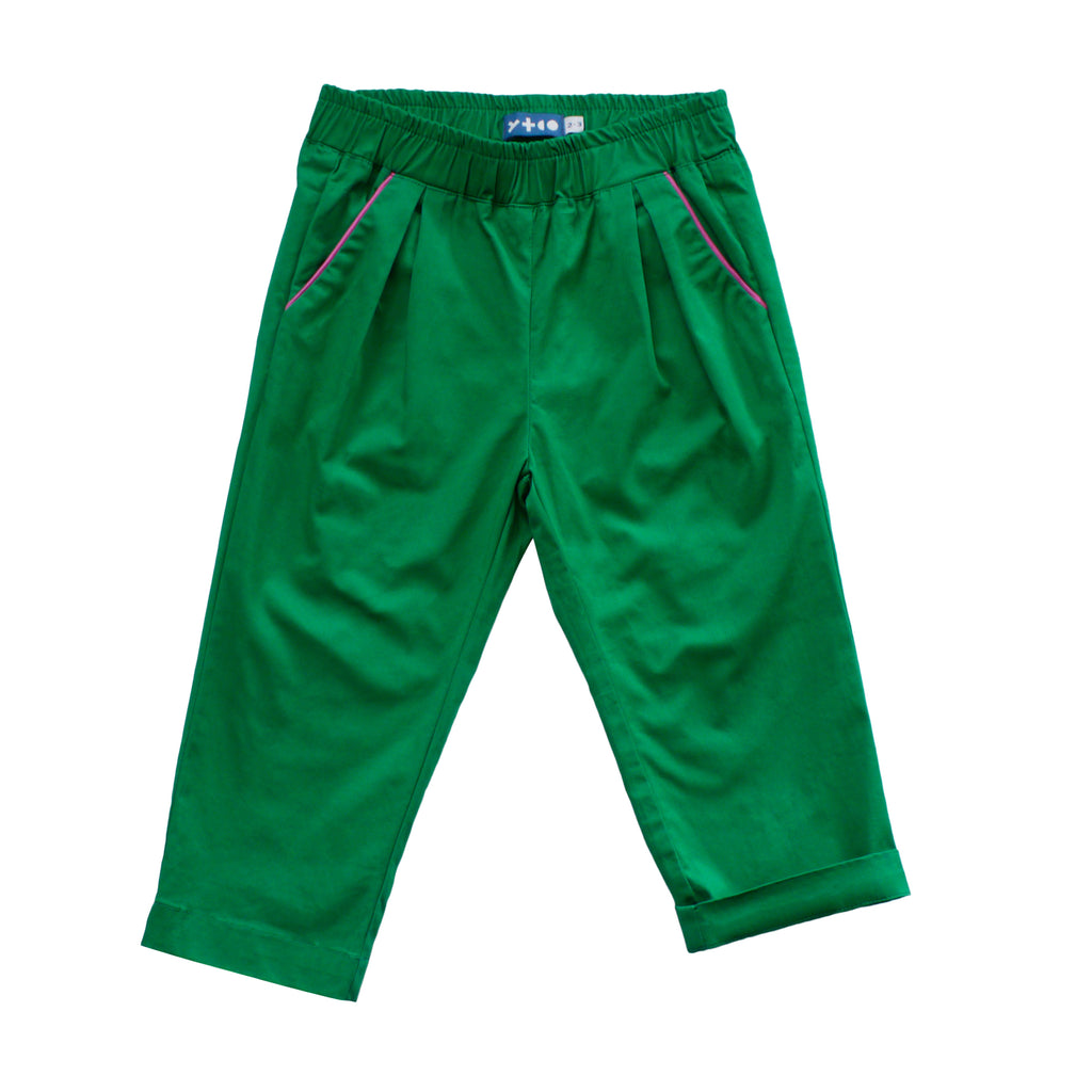 Pleated Trouser - Treasure Island Green