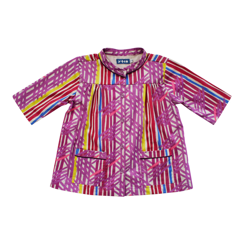3/4 Sleeve Yoke Top - Paint Stripe
