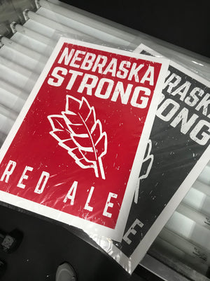 Nebraska Strong Red Ale Craft Beer Poster - Charcoal - 13x19""