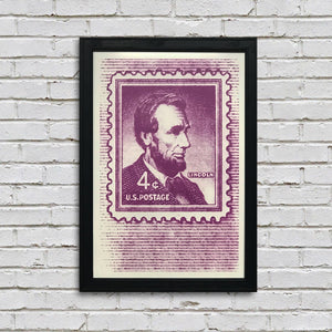 Abraham Lincoln Poster - 1954 US Postage Stamp Art - 13x19""