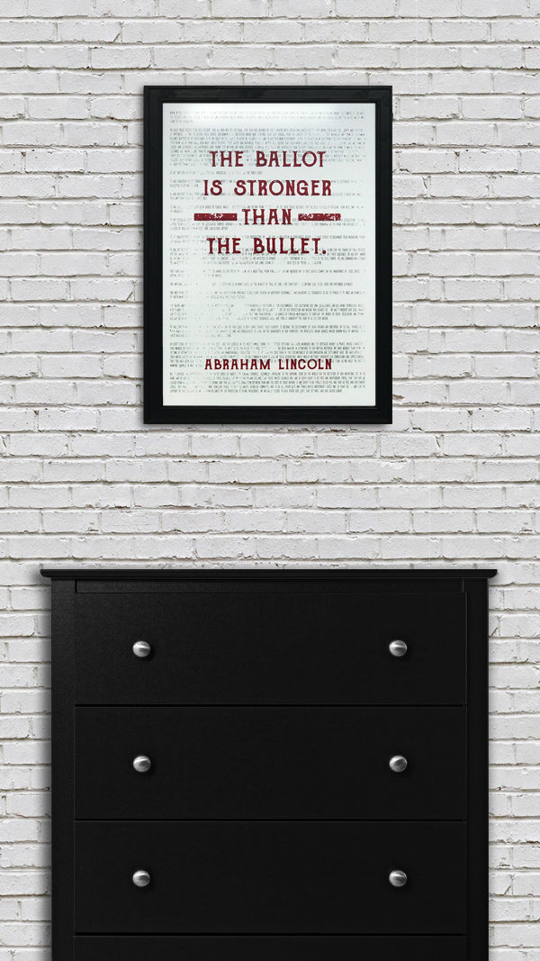Abraham Lincoln Ballot Stronger than Bullet Quote Office Art Print Red - 13x19""