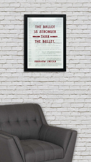 Abraham Lincoln Art Poster - Ballot Stronger than Bullet Quote Red - 13x19""