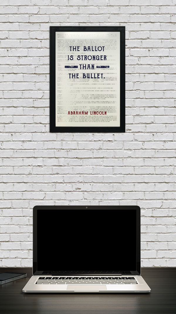 Abraham Lincoln Poster Art - Ballot Stronger than Bullet Quote Blue and Red - 13x19""