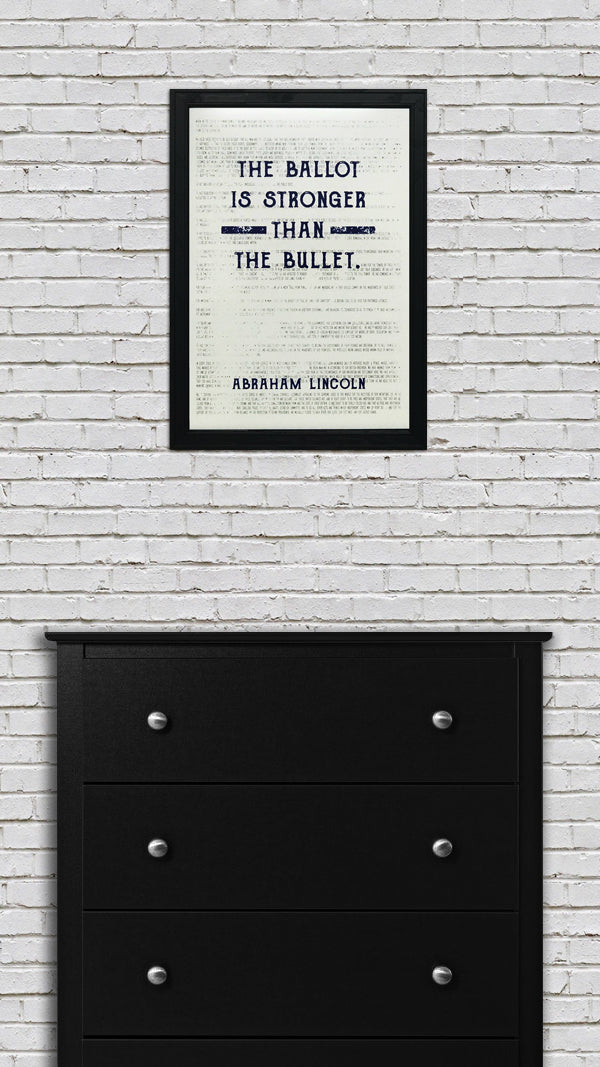Abraham Lincoln Poster Art - Ballot Stronger than Bullet - Blue - 13x19""