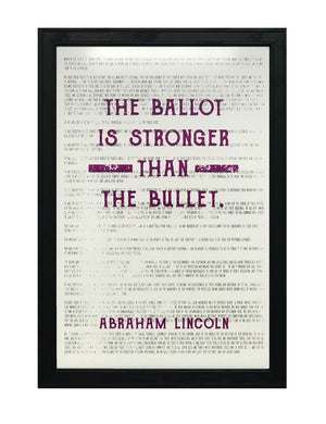 Abraham Lincoln Ballot Stronger than Bullet Office Art Print Purple - 13x19""