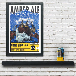 Crazy Mountain Amber Ale Craft Beer Poster - 13x19""