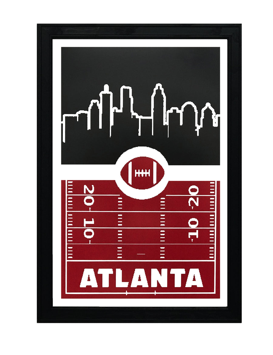 Atlanta Falcons Poster Art - Retro Video Game Style - 13x19""