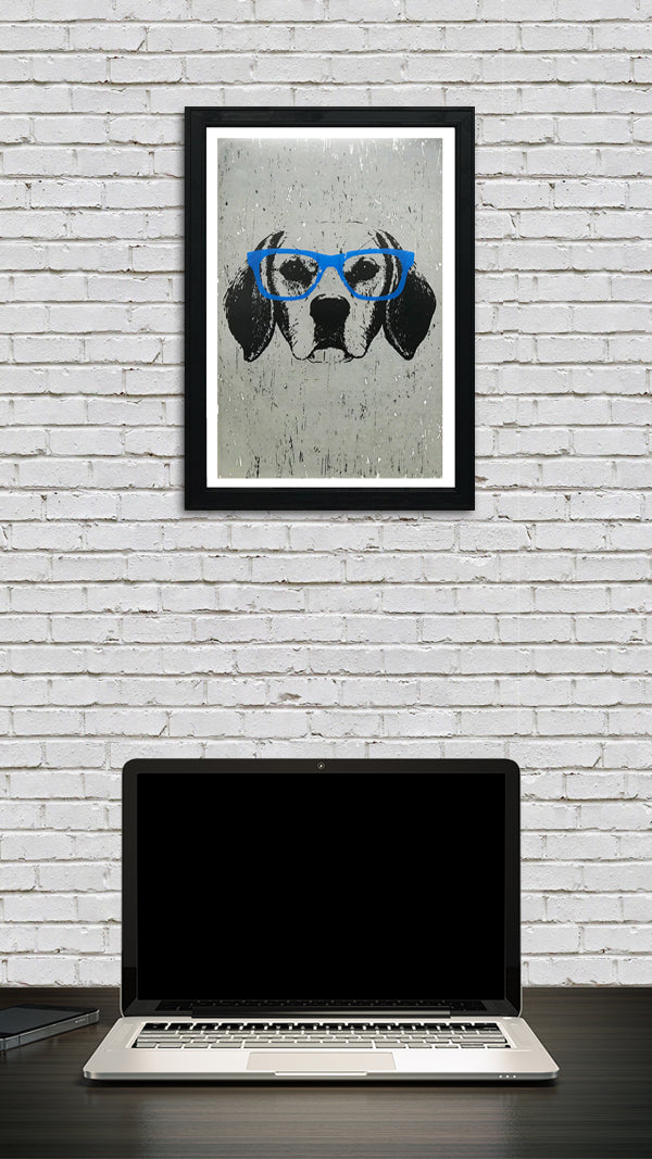 Beagle with Blue Glasses Art Poster / Print - 13x19""