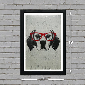 Beagle with Red Glasses Art Poster / Print - 13x19""